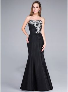 Trumpet/Mermaid Sweetheart Sweep Train Taffeta Prom Dress With Lace Beading
