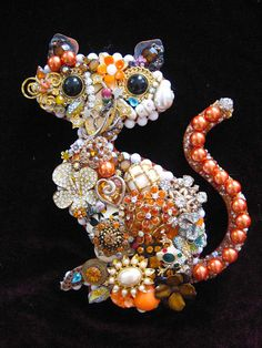 Tabby Cat Vintage Jewelry Collage Art