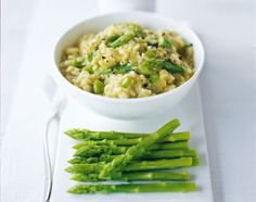 Jamie Oliver's Asparagus (mint, and lemon) risotto (2).  Used the preparation from this recipe.