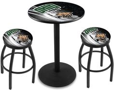 Ohio Bobcats D2 Black Pub Table Set.  Available in two table widths. Visit SportsFansPlus.com for Details.
