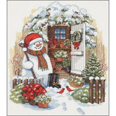 """Garden Shed Snowman Counted Cross Stitch Kit-12""""X14"""" 14 Count"""