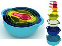 Nesting et includes kitchen essentials such as a large bowl, colander, sieve, small bowl, and 4 measuring cups. All 5 components total) nest together Cool Kitchen Gadgets, Cool Kitchens, Kitchenaid Pasta Extruder, Wedding Gift Cutlery, Kitchen Supplies, Kitchen Ideas, Kitchen Goods, Kitchen Shop, Kitchen Ware