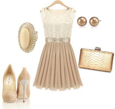 A fashion look from August 2012 featuring beige dress, gold clutches and stone ring. Browse and shop related looks. Dress Skirt, Dress Up, Dress Shoes, Wedding Attire, Wedding Outfits, My Wardrobe, Diy Clothes, Party Wear, Fashion Dresses