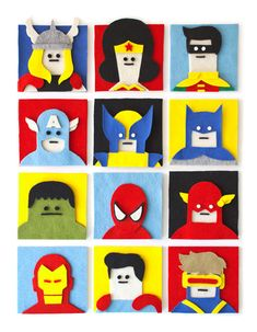 Fuzzy Felt Superhero Artworks by Jacopo Rosati - wish they were for sale, what a cool idea!
