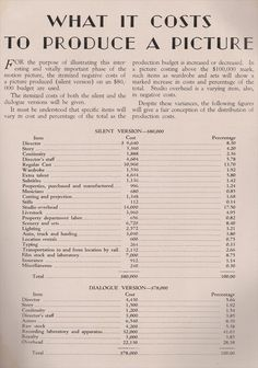 1929 sample motion picture budget