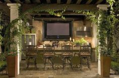 outdoor kitchen landscape design - for my design, instead of tv, window to kitchen sink?