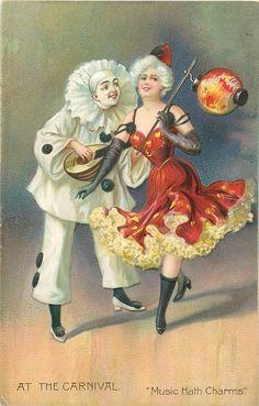 "Cartoline ""Vintage"" 8e4a9dd61b9839410c0142381444a755--harlequin-clowns"