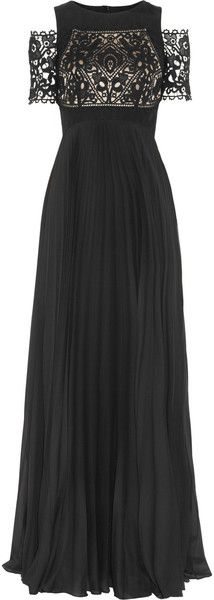 TEMPERLEY LONDON   Catherine Lace and Pleated Chiffon Gown