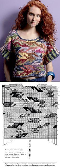 кофточка в технике Интарсия со спущенным плечом, коротким рукавом и графическими деталями.
