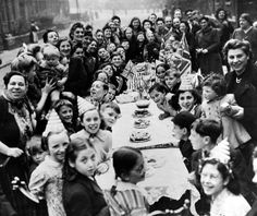 A typical street party held to celebrate the end of the Second World War. This one was in Beaufort Place, off Roundhay Road, in Leeds © Yorkshire Post Newspapers British History, World History, Military History, World War Two, Old Pictures, Historical Photos, Ww2, Leeds England, The Past