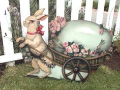 """Easter Bunny with cart """"Dummy Board"""" Decoration"""