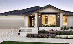 Home Exterior Display Homes Perth Exterior Color Schemes, Exterior House Colors, Exterior Design, Home Landscaping, Front Yard Landscaping, Facade House, House Facades, First Home Buyer, Front Yard Design