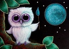 Art: TINY VIOLET OWL ARTIST - I PAINTED THE MOON by Artist Cyra R. Cancel