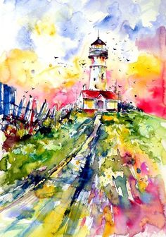 Buy Lighthouse with birds  - perfect gift idea, Watercolour by Kovács Anna Brigitta on Artfinder. Discover thousands of other original paintings, prints, sculptures and photography from independent artists.