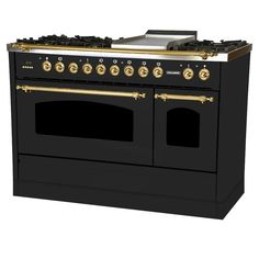 36 in. 3.55 cu. ft. Single Oven Dual Fuel Italian Range with True Convection, 5 Burners, Griddle, LP Gas, Brass Trim in Glossy Black – HALLMAN