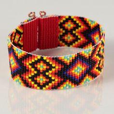 Black Diamonds Bead Loom Bracelet  Artisanal by PuebloAndCo, $23.99
