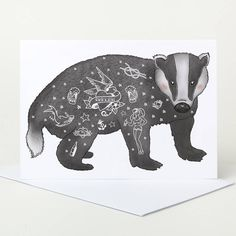 Tattoo Badger Greetings Card by Pugyeah on Notonthehightstreet.com