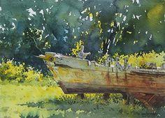 """Vanishing Skipjack"" by Richard Sneary. Watercolor ~ 10"" x 14"""