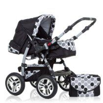 "BRAND NEW 2 IN 1 PRAM ""FLASH"" - MANY ACCESSORIES - 9 PIECES - IN COLOUR BLACK-POLKA-DOTS Maclaren Pushchair, Prams And Pushchairs, Baby Prams, Mamas And Papas, Baby Carriage, 2 In, Colour Black, Color"