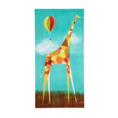 Too Tall Giraffe Wall Art - hang on the wall above the bookcase, opposite the striped wall (see floor plan).