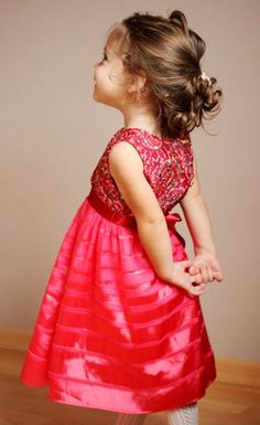 Girls hot pink dress spring summer /rusteam / by Maliposhaclothes, $74.00