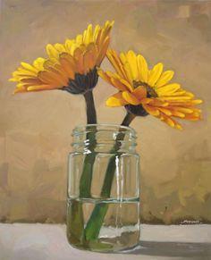 2 Yellow Flowers in a Jar by Carol Marine.