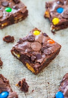 Get the Loaded Fudgy Candy Bar Brownies recipe from Averie Cooks