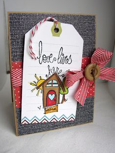 stamp of the week from unity stamp company - {love lives here} - drawn by unity artista and design team member angie blom - card created by unity design team member Stephanie Muzzlin.