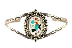 ❀Vintage Southwestern Tribal Sterling Silver & Turquoise, Mother of Pearl, Natural Red Coral, Jet Hummingbird Bracelet  ❀It is not marked with