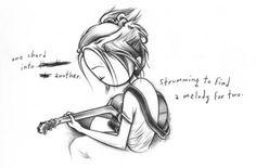 kh girl guitar sketch