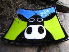Cow Plate DAISY Handmade Fused Glass Decorative Farm Animal Dish £84.00