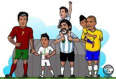 Fathers and Sons. Figo, CR7, Messi, Maradona, Neymar y Ronaldo.