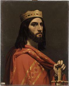 Dagobert Ier, roi d'Austrasie, de Neustrie et de Bourgogne, (mort en 638) peint par Émile Signol (1804-1892). Peinture conservée au musée national du château et des Trianons de Versailles.