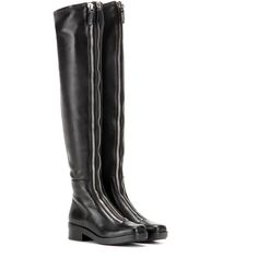 Alexander Wang mytheresa.com Exclusive Over-the-Knee Leather Boots (2.665 BRL) ❤ liked on Polyvore featuring shoes, boots, black, over-knee boots, alexander wang boots, genuine leather boots, above the knee leather boots and over the knee leather boots