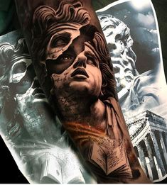black and grey realism tattoo full sleeves Realistic Tattoo Sleeve, Arm Sleeve Tattoos, Tattoo Sleeve Designs, Tattoo Designs Men, Arm Tattoo, Tattoo Ink, Daddy Tattoos, God Tattoos, Badass Tattoos