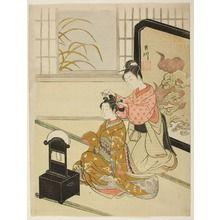 鈴木春信 suzuki-harunobu: Eight Indoor Scenes (Zashiki Hakkei): A Mirror Stand-The Autumn Moon (Kyôdai no shûgetsu) - シカゴ美術館