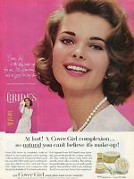 1963 Cover Girl Medicated Make Up Print Ad w Bonnie Trompeter Brides Magazine
