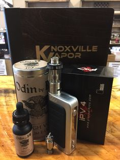 COOL COMBOS!  This is what you have been wanting. Talk about style, function and flavor!  The iPV4, up to 100 watts, temperature control and stylish! Requires dual 18650 batteries (sold separately).  Paired with the Thunder Storm Subohm Tank, this is the setup you have been looking for!  While you are at it, pick up some e-Liquid. ODIN 107 by BW! A delicious fruity lime is all we need to say! MAX VG!  Come check out today, everything stylish and cool at...  Knoxville's & Sevier's Finest…