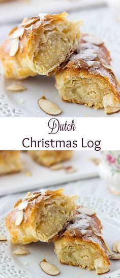 Banketstaaf (Dutch Christmas Log) This easy Dutch Christmas Log is a must-try recipe for the holidays! Flaky puff pastry is stuffed with a mixture of sweet almond paste and orange zest, rolled into a log and baked until crispy perfection. Brownie Desserts, Köstliche Desserts, Delicious Desserts, Yummy Food, Dutch Desserts, Vegetarian Desserts, Christmas Desserts Easy, Christmas Cooking, Christmas Log