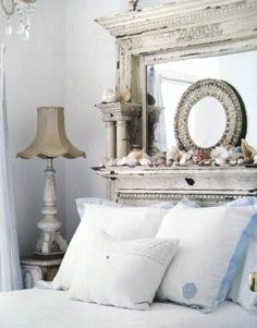 love the mantle as a headboard!