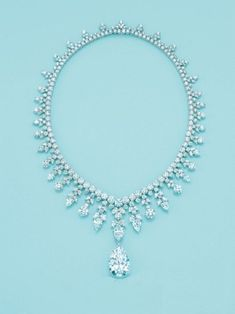 Tiffany  and Co. Majestic Diamond Necklace . One of Top 10 Most Epensive Necklaces the highlight is a 41ct. Pear shaped Diamond Pendant and sells for $2.5 Million #DiamondNecklaces