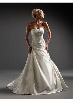 TAFFETA STRAPLESS WEDDING DRESS LACE BRIDESMAID PARTY BALL EVENING COCKTAIL GOWN IVORY WHITE FORMAL PROM CUSTOM
