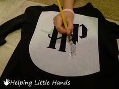 Helping Little Hands: DIY Harry Potter Shirt - Freezer Paper Stencil