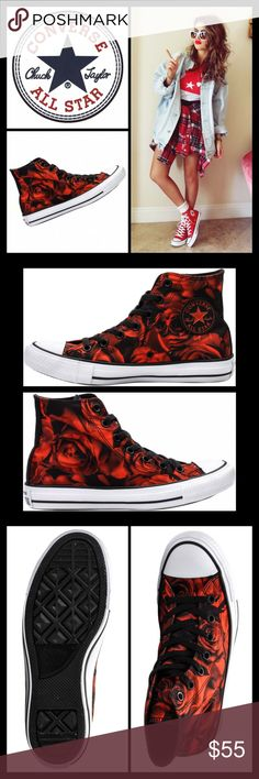 ▪️JUST IN▪️ROSES ARE RED HIGH TOP SNEAKERS An artful design set in soft cotton gives the Converse Chuck Taylor All Star HI sneaker's classic silhouette a stylish update. ▪️Cotton lining ▪️Nylon printed upper ▪️Cushioned footbed ▪️Lace entry ▪️Vulcanized rubber outsole  🛍 2+ BUNDLE=SAVE  ‼️NO TRADES--NO HOLDS--NO MODELING  💯 Brand Authentic  ✈️ Ship Same Day--Purchase By 2PM PST  🖲 USE BLUE OFFER BUTTON TO NEGOTIATE   ✔️ Ask Questions Not Answered In Description--Want You Yo Be Happy…