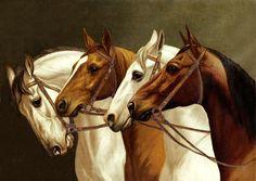 Horse Heaven — missfolly: Anonymous - Painting of Horses, 1893 All The Pretty Horses, Beautiful Horses, Paintings I Love, Animal Paintings, Horse Paintings, Four Horses, Wild Horses, Horse Artwork, Horse Portrait
