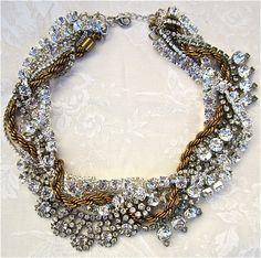 Chunky Mixed Metal Statement Necklace Rhinestone Vintage Wedding Jewelry Swarovski Crystal, Gold & Rhinestone Twisted Necklace - Bling It On. $248.00, via Etsy.