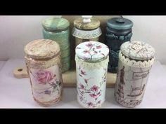 6 ideas con frascos de cristal ideas with glass jars (english subtitles) Mason Jar Vases, Bottles And Jars, Glass Jars, Recycled Crafts, Diy And Crafts, Diy Glasses, Decoupage Art, Bottle Vase, Dose