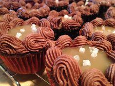 Salted Caramel-Chocolate-Bourbon Cupcakes.