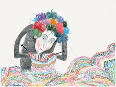 The Woman With Balls Of Yarn For Hair Made WithPaperbyroetski
