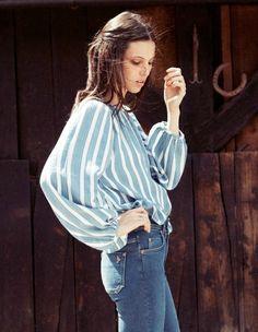 MiH Jeans S/S 2012 Model: Ruby Aldridge Denim dark wash light was cropped vintage look feel work cut off denim shorts flowy tops